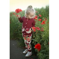 Spodnie bukiety róż z bordo
